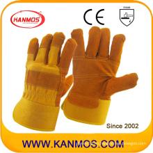 La seguridad industrial remendó el cuero de vaca de la palma Guantes de trabajo del cuero (110112-1)