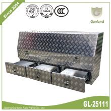 Boîte à outils pour camionnette à trois tiroirs en tôle à diamant en aluminium