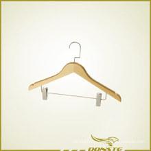 Деревянная вешалка для одежды с прессом для брюк