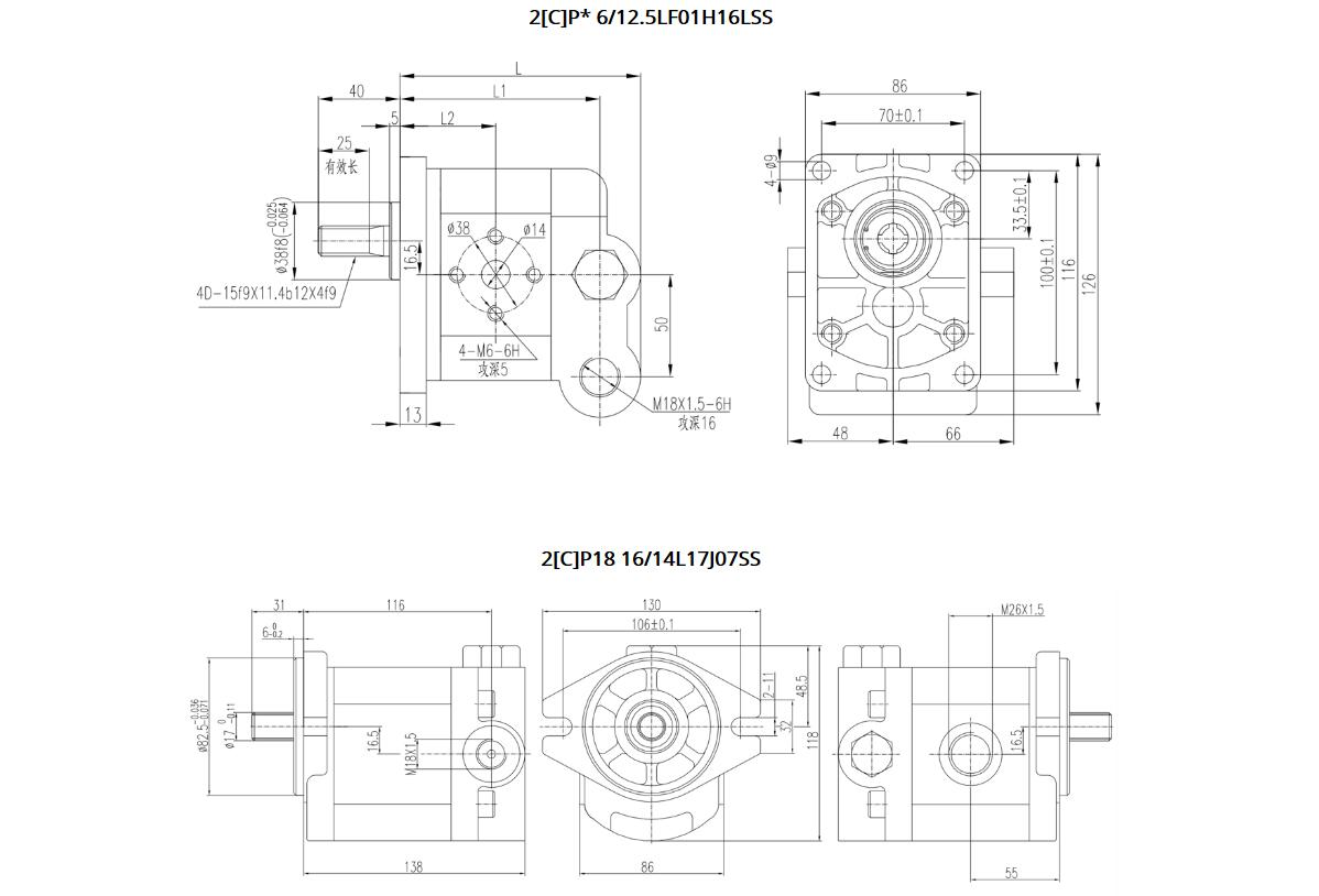 2CP 18 Constant Flow Gear Pumps Dimensions