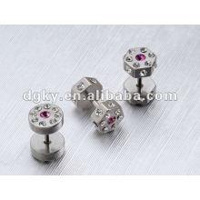 Hexagonal surgical steel ear piercing fake ear plugs around CZ gem