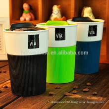 supplier ceramic starbucks mug with lid,travel mug,porcelain mug with silicone wrap