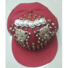 Colorful red acrylic flat brim rivet hip-hop snapback cap hat cheap