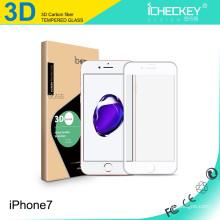 Vente chaude! Protecteur d'écran en verre trempé de fibre de carbone couverture complète 3D pour Iphone7