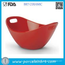 Tazón de cerámica rojo con soporte para palillos