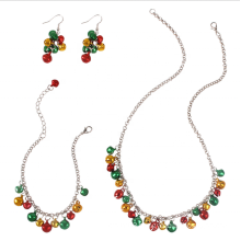 UNIQ Christmas Jewelry Set for Women Girls,Christmas Jingle Bell Holiday Necklace Chain Link Bracelet Drops Earrings