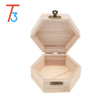 unfinished hexagon wooden bracelet jewel box with divider