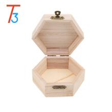 caixa de jóia de bracelete de madeira hexágono inacabado com divisor