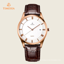 Men′s Fashion Leather Stainless Steel Quartz Wrist Watch 72311