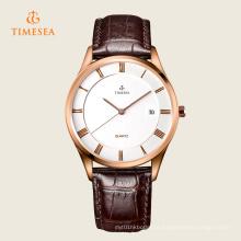 Relógio de pulso de quartzo de aço inoxidável de couro de moda masculina 72311