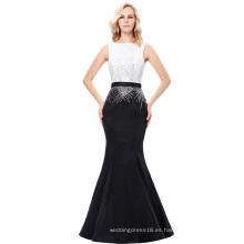 Kate Kasin sin mangas barco cuello V-espalda de larga duración negro y blanco sirena vestido de baile KK001020-1