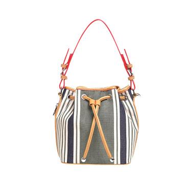 Designer PU Drawstring Handtasche Damen Stripe Eimer Tasche Wzx1199