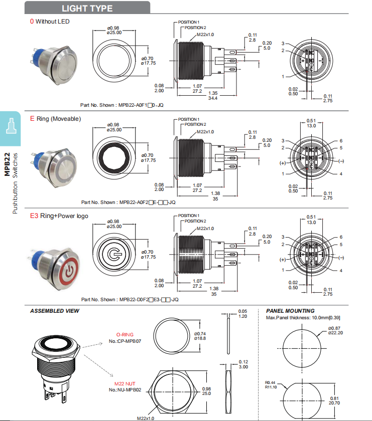 ANTI-VANDAL PUSHBUTTON SWITCHES