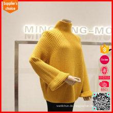 Neueste Mode gelb Kaschmir Pullover Pullover100 Kaschmir Pullover Verkauf