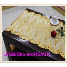 Pano de tabela dourado do laço do PVC na fábrica do rolo para o uso do casamento