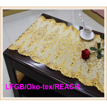 PVC Golden Lace Table Cloth in Roll Factory for Wedding Use