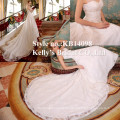 Heiße Verkauf Elfenbein Sahne Farbe brasilianischen Brautkleider oder bodenlangen Hemline und OEM Service Supply lange schleppende Brautkleid