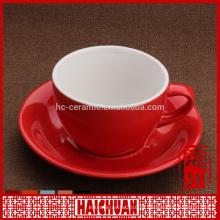 Taza de 6 onzas de color verde y platillo para café / taza de cerámica y platillo