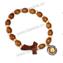 Elástico Madeira Beads T Cruz com Medalha de Metal Rosário Pulseira