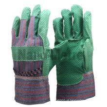Luva de palma de tecido impregnado de PVC verde NMSAFETY