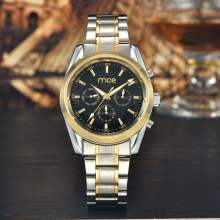 5 ATM steel case men gold watch