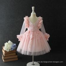 HEISSER Herbst Winter kleidet langes Hülsenblumenmädchenkleid, das Brautjungfer Vietnam rosa Kleid Weihnachtskleider für 7 Jahre alt kleidet
