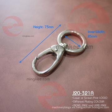 Stong color plateado de 1 pulgada Anillo de forma redonda Gancho rápido