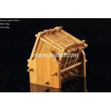 Ensemble de soucoules en bambou fait à la main, 8 pcs de soucoupe