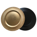 Gold Stripes Plastic Plate with Metallic Finish