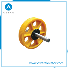 Peças do elevador, polia do defletor do elevador do nylon / ferro fundido, polia da tração (OS13)
