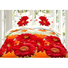 100% Polyester Microfiber 3D Sunflowers Fabric Textile Bedding Set China Manufacturer OEM