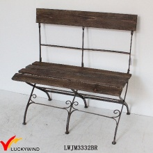 Vintage Brown Antiguo plegable silla de metal de madera