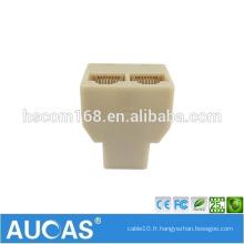 Câble réseau à 3 voies Splitter Extender Plug Coupler / Straight Coupler Cat5e 6 Connecteur de câble Connecteur femelle femelle