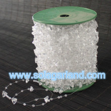 60M / Roll 10 + 3mm Plastic Crystal Driehoek Bead Garland Strand