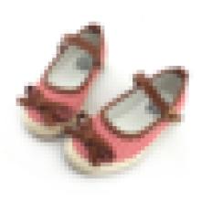 Zapatos de lona a rayas encantadoras niños bebé casual zapatos niñas con correa de hebilla de arco
