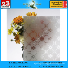 3-8mm Clear and Bronze Acid Etched Patterned Glass with AS/NZS 2208