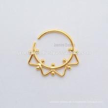 Gold überzogene indische Septum Piercing Nase Ring, handgefertigte Lieferanten Septum Designer Silber Nase Schmuck