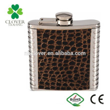 Material de acero inoxidable 6 oz warped láser de soldadura cadera frasco con logotipo de parche