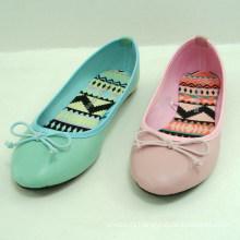 2014 fashion casual green or pink women flat shoe ballerina
