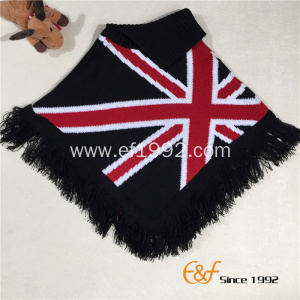 Jacquard Knitted Winter Sweater Cape with Tassels