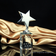Metal Star Trophy Crystal Craft Awards Glass Trophy