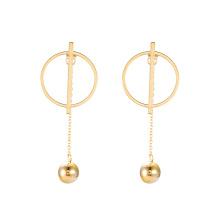 E-671 xuping estilo simples de aço inoxidável 24k cor de ouro drop ball senhoras brincos