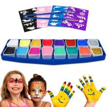 Wasserbasierende Gesichtsfarbe mit Glitter Schwämmen für Party