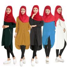 Fornecimento de fábrica simples mulheres planas camisa islâmica vestido muçulmano dubai atacado