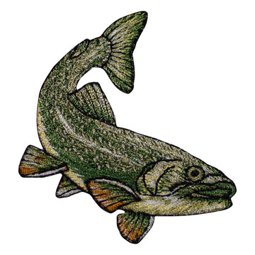 Large Mouth Bass Fish Embroidered Patches