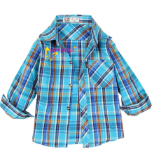 new fashon blue comfortable cotton baby boy plaid shirt fabric