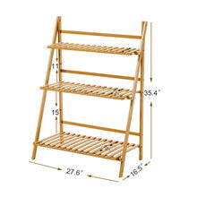 Bamboo Wood Ladder Plant Stand 3-Tier Foldable Flower Display Shelf Rack