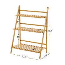 Suporte de planta de escada de madeira de bambu 3-Tier Dobrável Rack de prateleira de exposição de flores