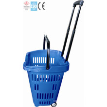Plastic Handle Basket Shopping with Wheels (YD-Z10)