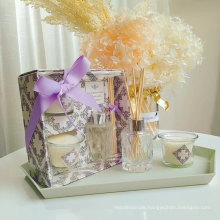 40ml glass reed diffuser and 2 glass cup candle in gift box for home